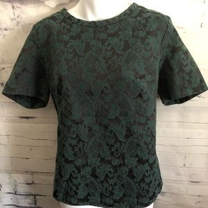 Halogen Brocade Top Exposed back Zipper sz. L
